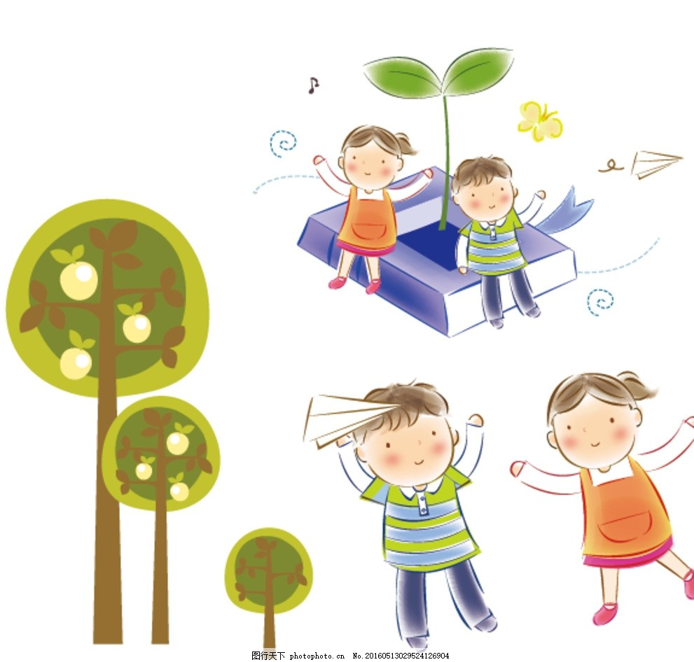 玩耍儿童 纸飞机 卡通儿童 小学生 手绘 女孩 插画 快乐儿童 儿童绘画