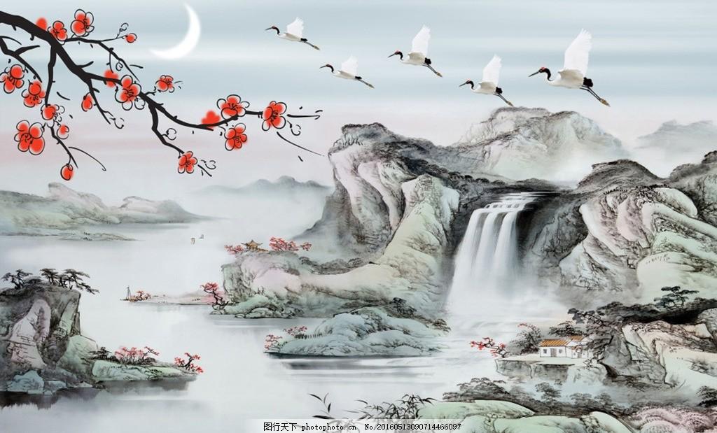 白鹭上青天 水墨画 山水 白鹤 梅花 国画 中国风图片 文化艺术
