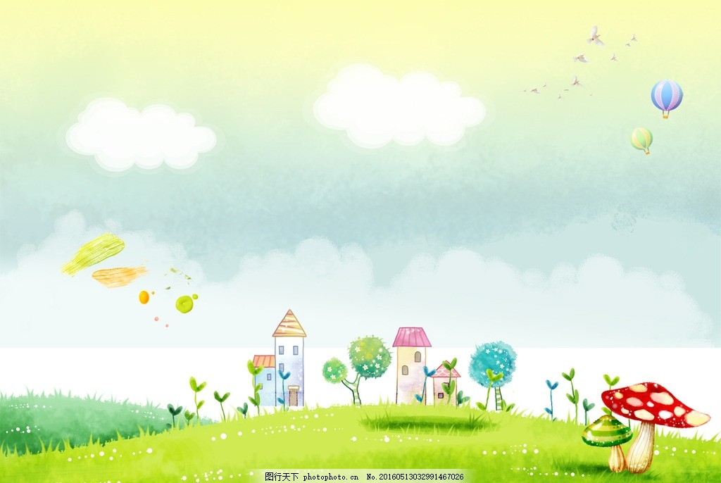 卡通图片素材 卡通背景图片 卡通展板 蓝天白云 幼儿展板 绿地