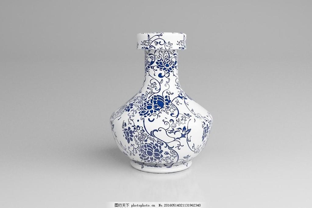 青花瓷瓶模型图片