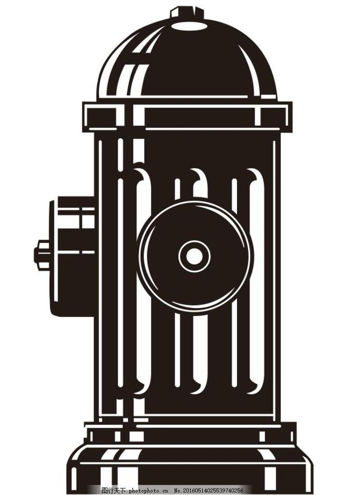 消防栓 灭火 消防 设备 设施 简笔画 线条 线描 简画 黑白画 卡通-狙击手