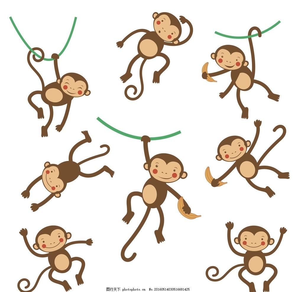 卡通猴子 动物 香蕉 可爱动物 矢量动物 生物世界 插画 卡通动物头像