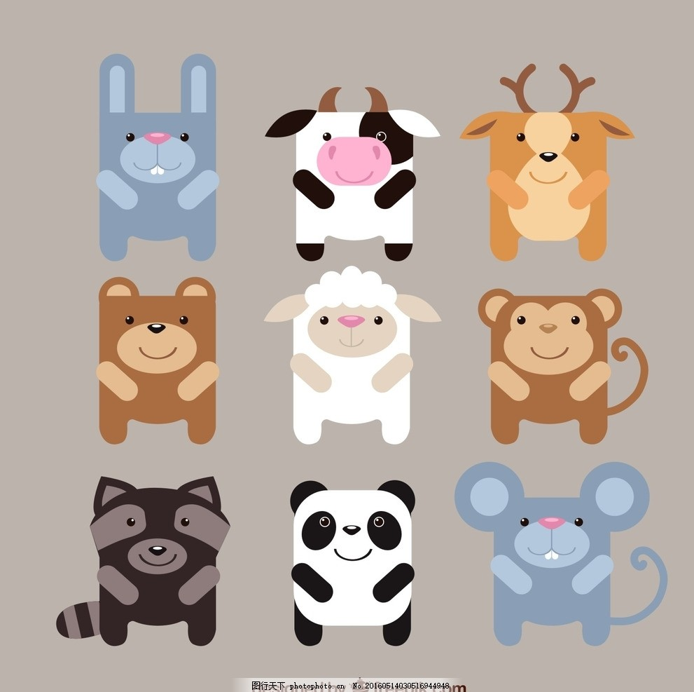 可爱方形动物