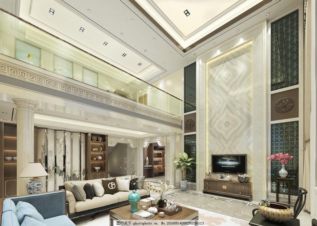 新中式客厅玄关别墅效果图 别墅设计 装饰 装修 室内效果图 环境设计