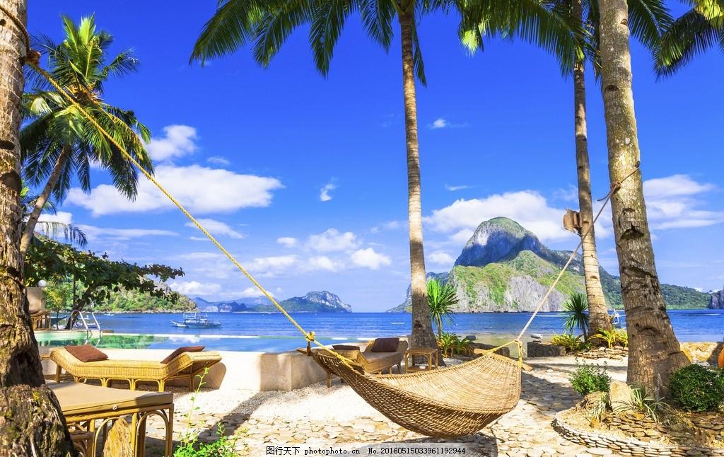 天堂 吊床 夏威夷 海边 海滩 椰子树 沙滩 大海 海洋 热带 度假 休闲