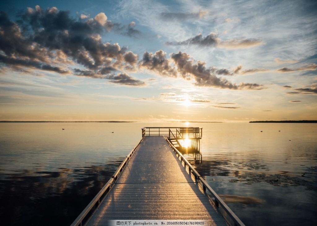 海边小码头桥 海边 小码头桥 小桥 桥 木桥 落日 日出 日落 清晨 黄昏