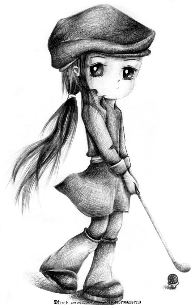 古风画 美女 手绘 铅笔画 卡通 可爱 动漫人物 设计 文化艺术 绘画图片
