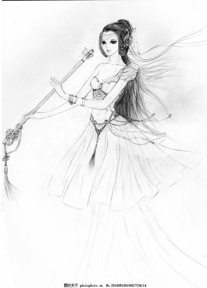 古风画 美女 手绘 铅笔画 古风 画 美女 设计 文化艺术 绘画书法 72