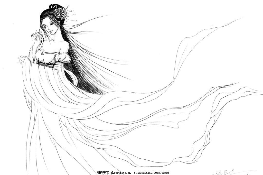 古风画 美女 手绘 铅笔画 古风 画 美女 古装 设计 文化艺术 绘画书法