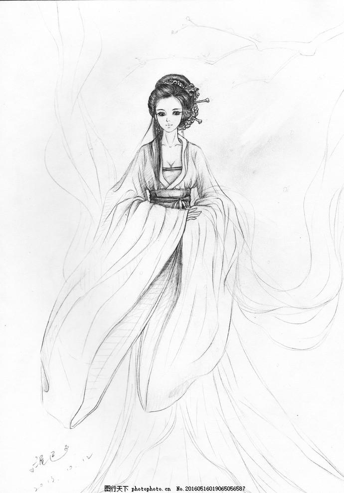 古风画 美女 手绘 铅笔画 古风 画 美女 古装 设计 文化艺术 绘画书法图片
