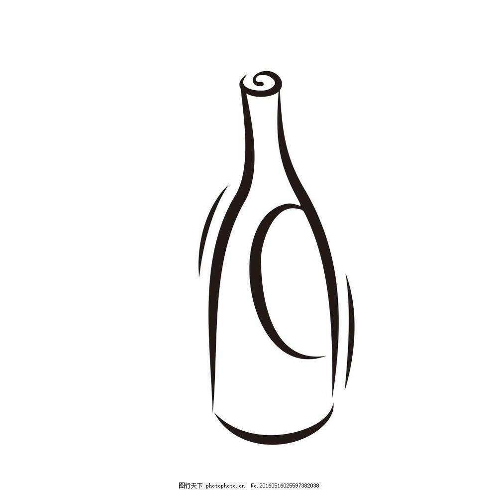 酒瓶 容器 瓶子 玻璃瓶 瓶 高脚杯 杯子 玻璃杯 红酒杯 简笔画 线条
