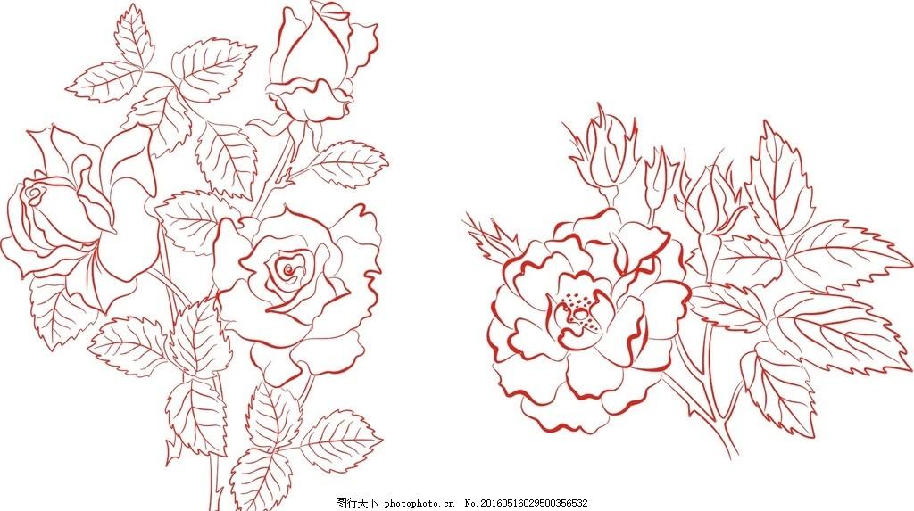 鲜花 花边 潮流 手绘 手绘花纹 手绘花朵 手绘花卉 矢量素材 矢量玫瑰