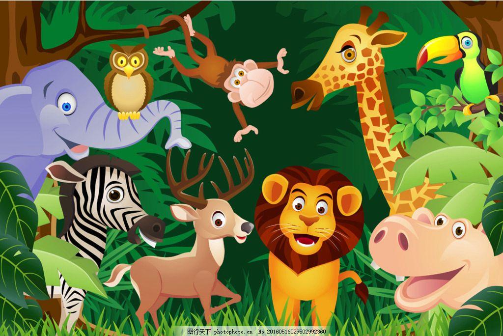 卡通动物 卡通 野生动物 小鹿 鹿 麋鹿 狮子 河马 斑马 大象 猫头鹰