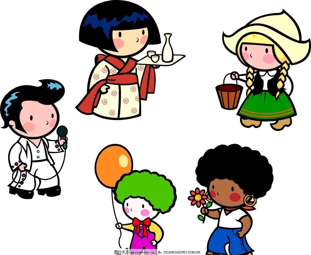 和服人物 卡通儿童 卡通素材 可爱 素材 手绘素材 儿童素材 幼儿园