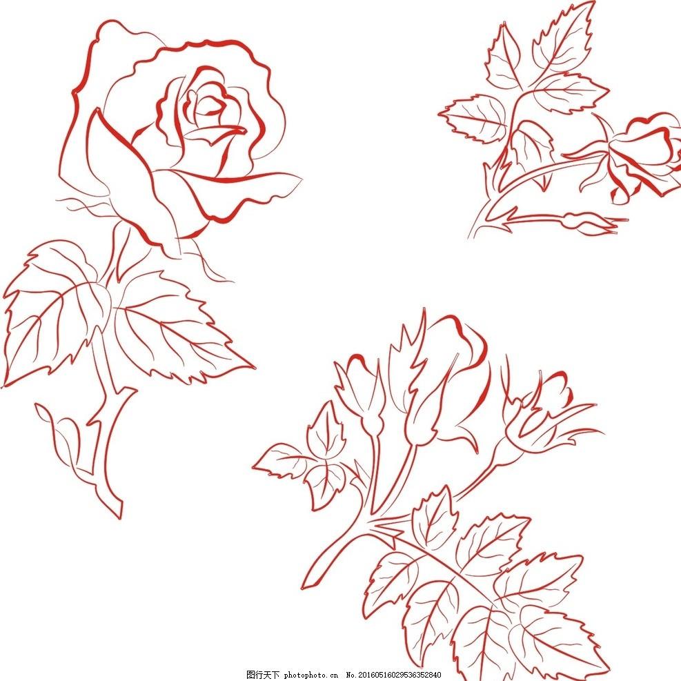 玫瑰花素描 玫瑰花 线条 玫瑰花卉 欧式古典 手绘玫瑰 复古花卉 复古
