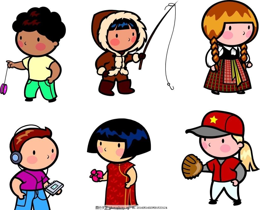 卡通儿童 钓鱼 听音乐 卡通素材 可爱 手绘素材 儿童素材 幼儿园素材