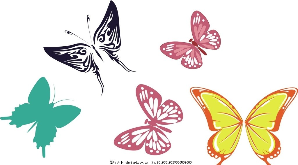 黑色蝴蝶 蝴蝶剪影 素材 手绘素材 卡通 矢量 抽象 可爱卡通 矢量素材