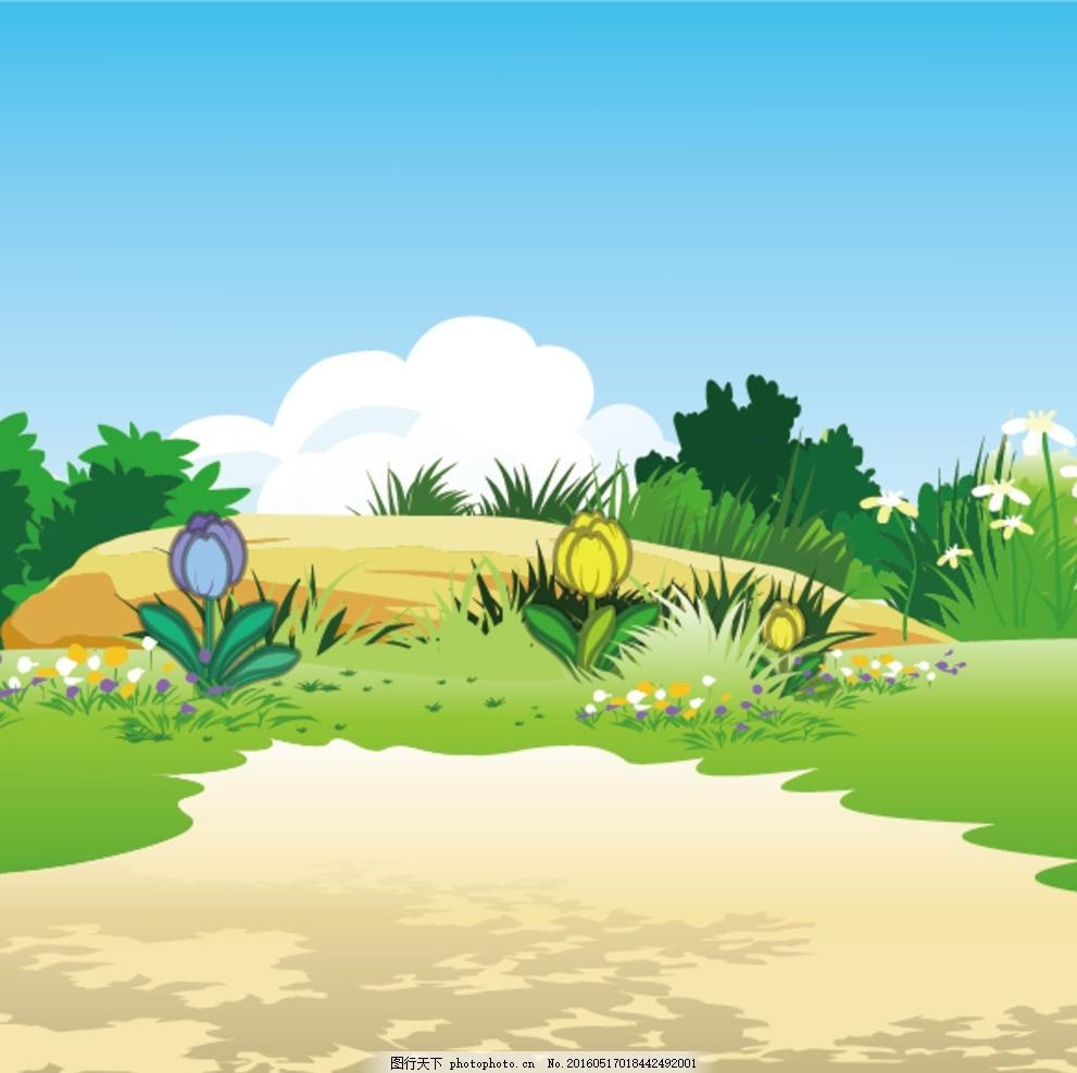 野外 土地 草地 云 花朵 灌木丛 手绘 卡通 设计 动漫动画 风景漫画