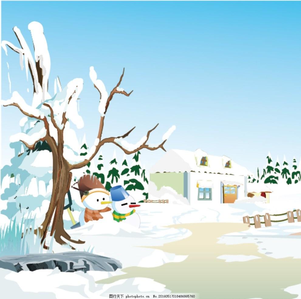雪景 树干 雪人 房子 雪地 手绘 卡通 动漫动画