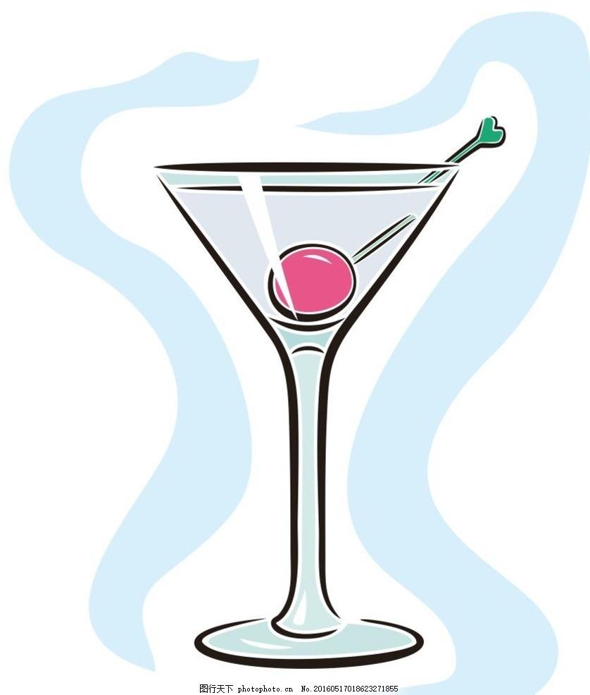 高脚杯 饮料 奶茶 简笔画 线条 线描 简画 黑白画 卡通 手绘 标志图标