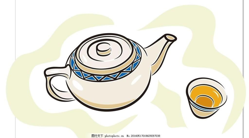 茶壶 茶 茶杯 茶道 简笔画 线条 线描 简画 黑白画 卡通 手绘 标志