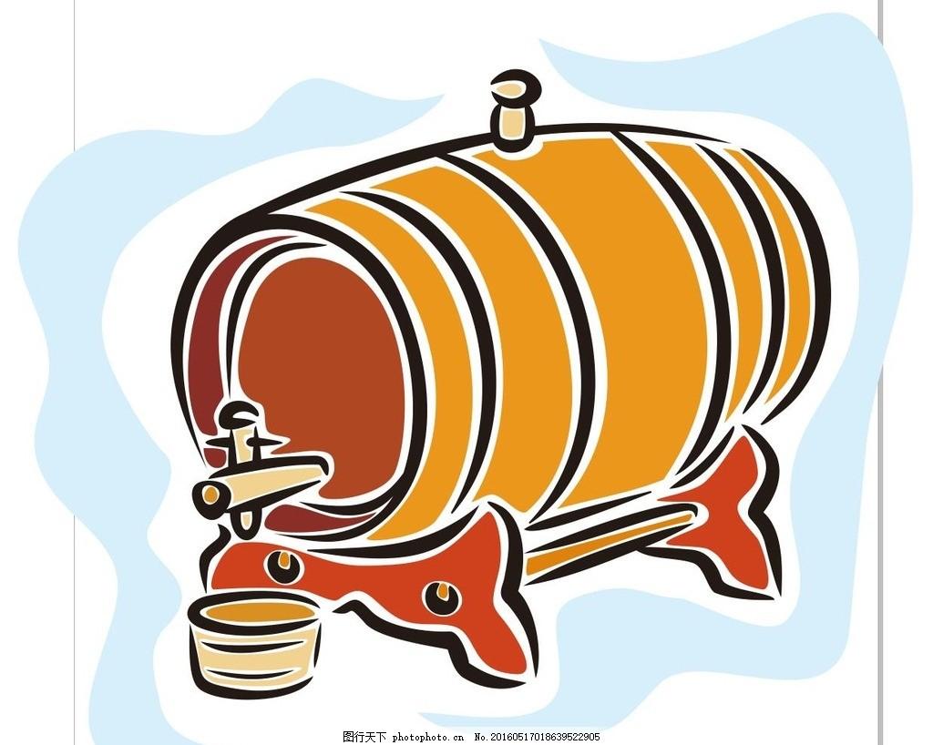 木桶 发酵桶 简笔画 线条 线描 简画 黑白画 卡通 手绘 标志图标 简单
