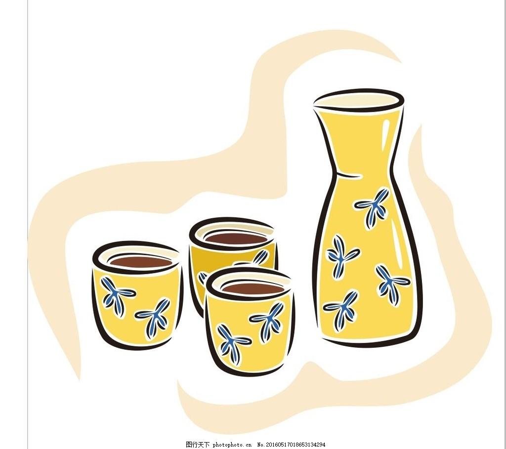 日本 酒壶 酒杯 茶杯 茶道 简笔画 线条 线描 简画 黑白画 卡通 手绘