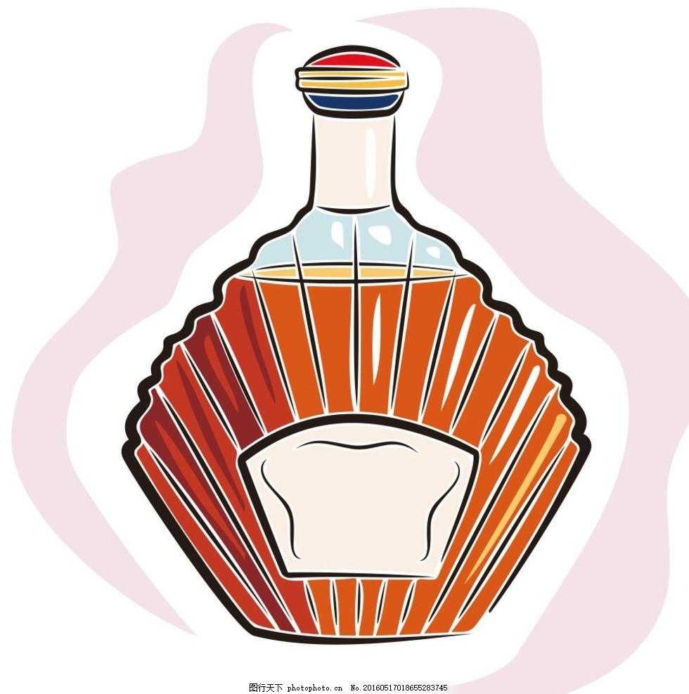 威士忌 酒 洋酒 酒瓶 简笔画 线条 线描 简画 黑白画 卡通图片