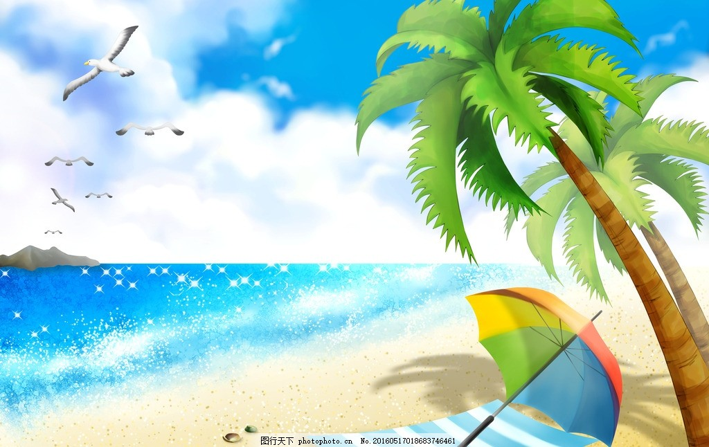海边 椰子树 叶子 海鸥 飞翔的海鸥 沙滩 沙滩浴 伞 布 晒太阳 夏天的