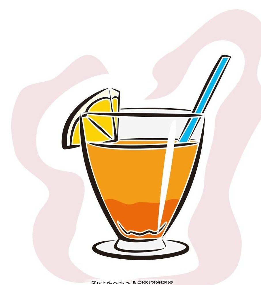 果汁 饮料 奶茶 简笔画 线条 线描 简画 黑白画 卡通 手绘 标志图标