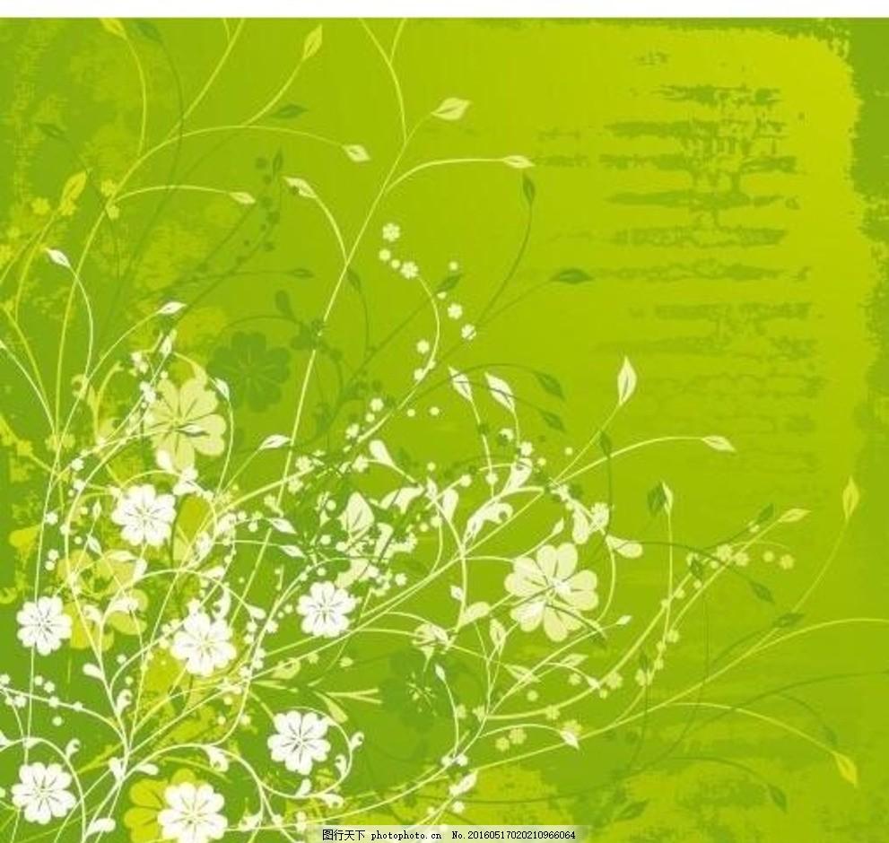 手绘绿色背景白色灌木