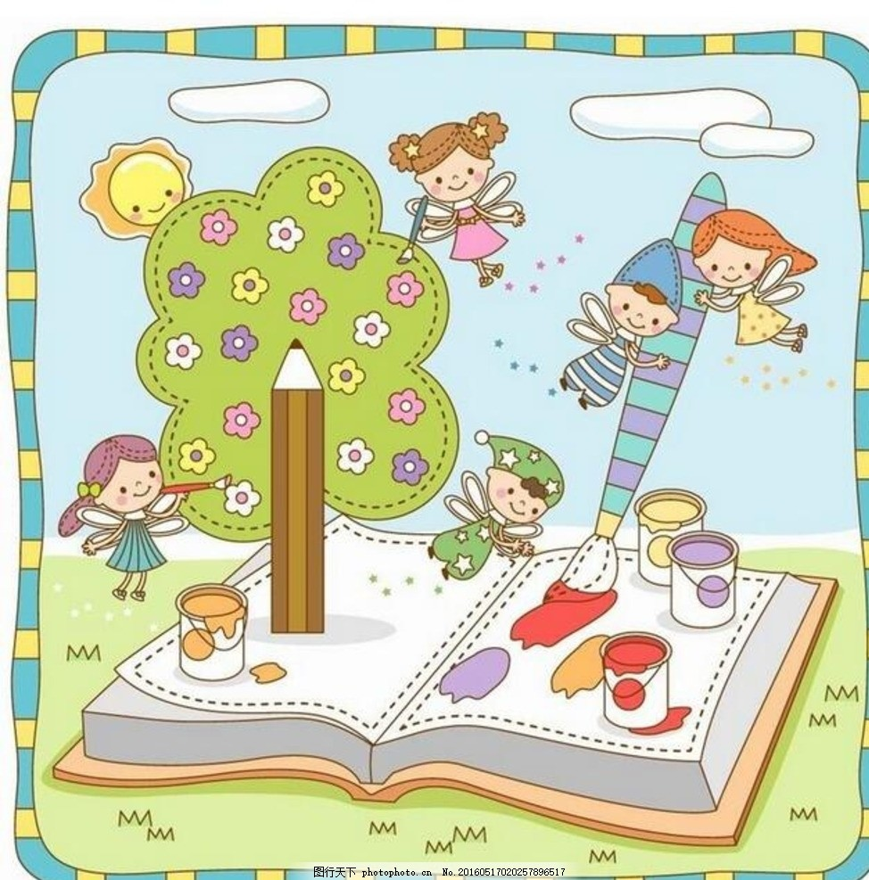 卡通画 书本上 画画 精灵 绘画 小朋友 铅笔 卡通树 颜料 插画 手绘