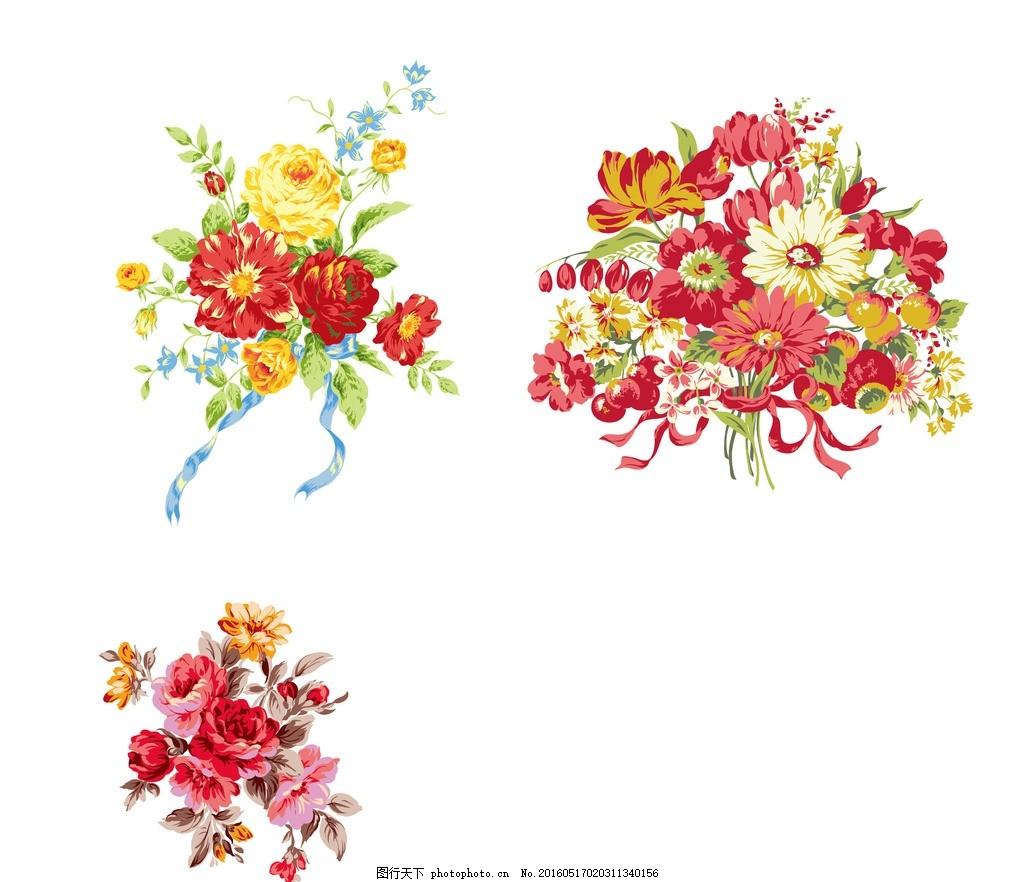 百花齐放 背景墙图案 小清新 花簇 女装图案 平面素材 设计 广告设计