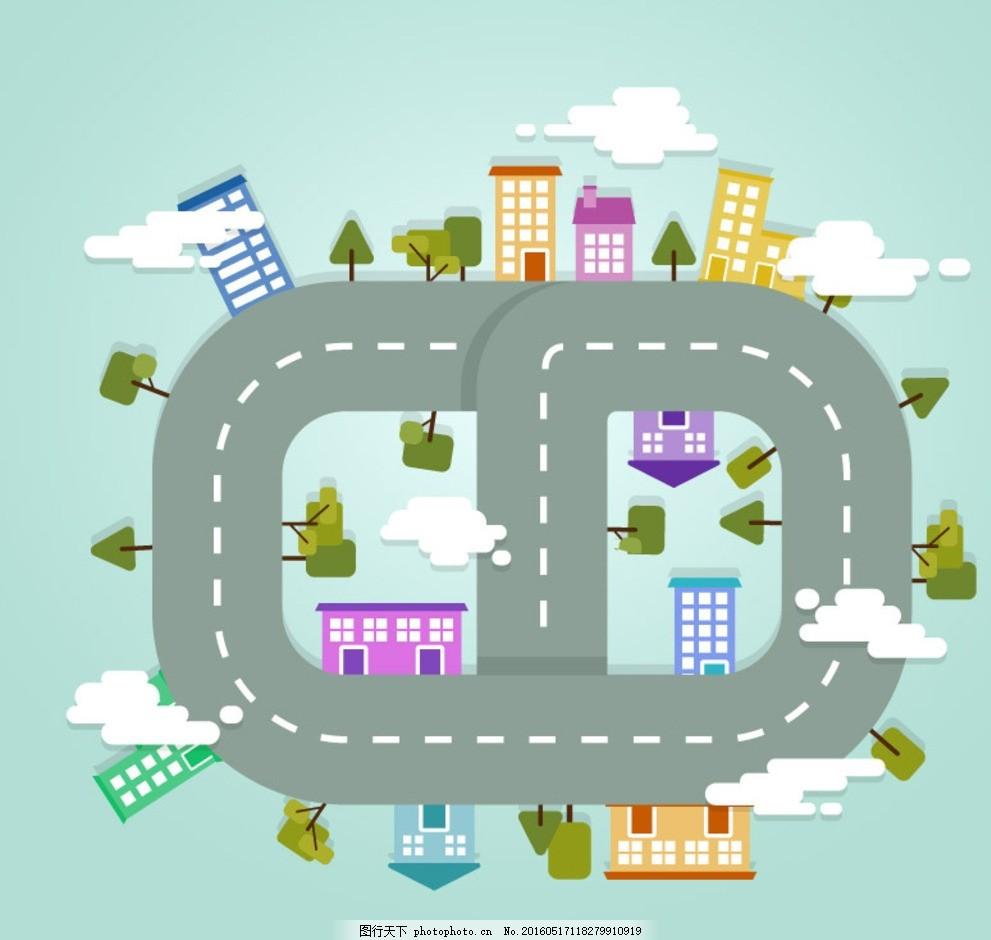 卡通道路 云朵 树木 建筑 楼房 环形 城市 俯视图 公路 信息图图片