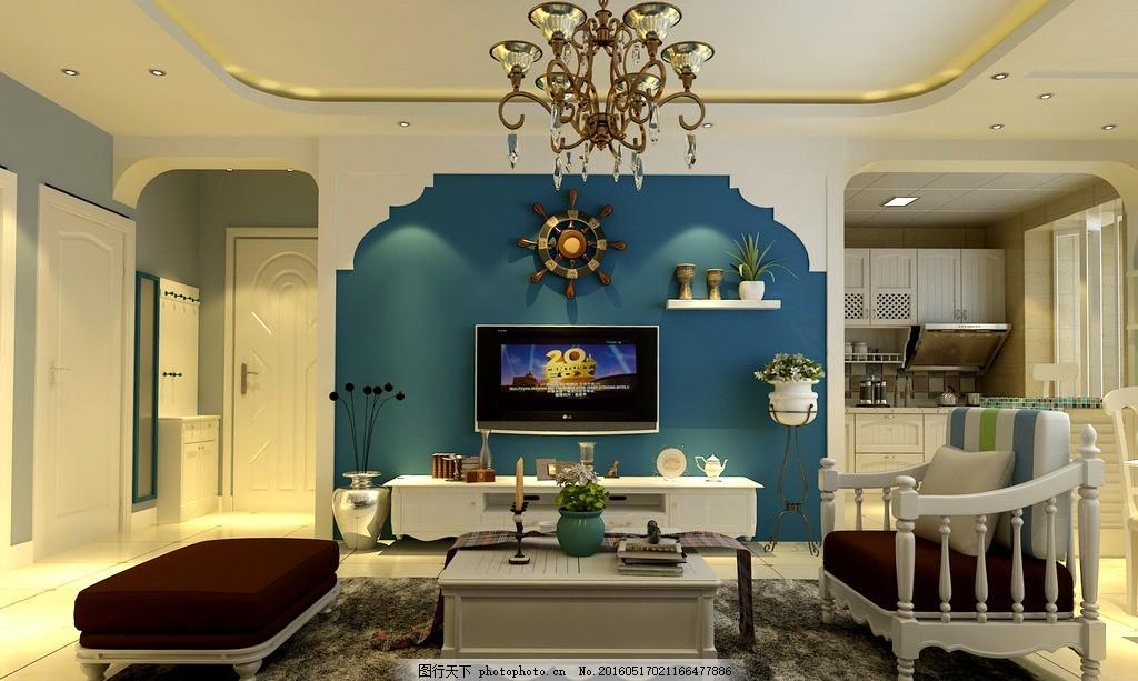 地中海 電視背景墻 電視 室內設計        魚缸 模型 地板 植物 玄關