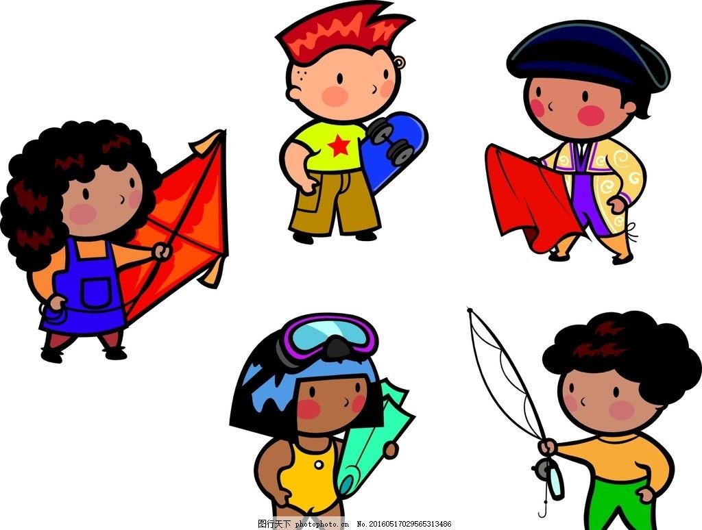 卡通人物 矢量人物 人物 卡通儿童 矢量儿童 手绘儿童 可爱儿童 运动