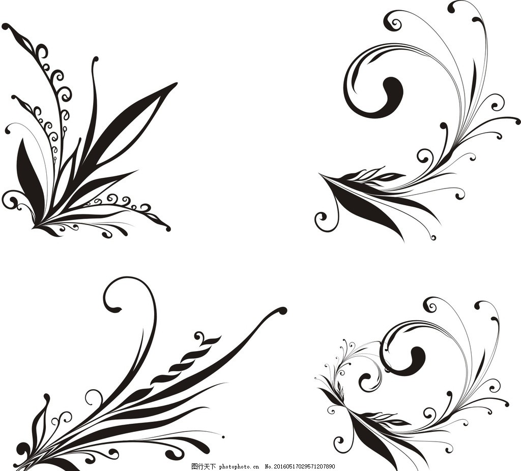 蓝色花纹 古典花纹 黑色花纹 简洁花纹 矢量黑白花纹 潮流 线条 欧式
