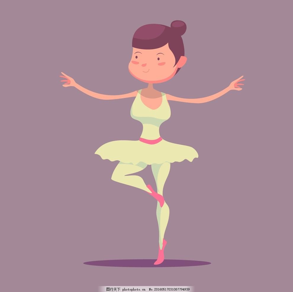 手绘漂亮的芭蕾舞演员 舞蹈 卡通 画 类型 可爱的 绘画 舞蹈家图片