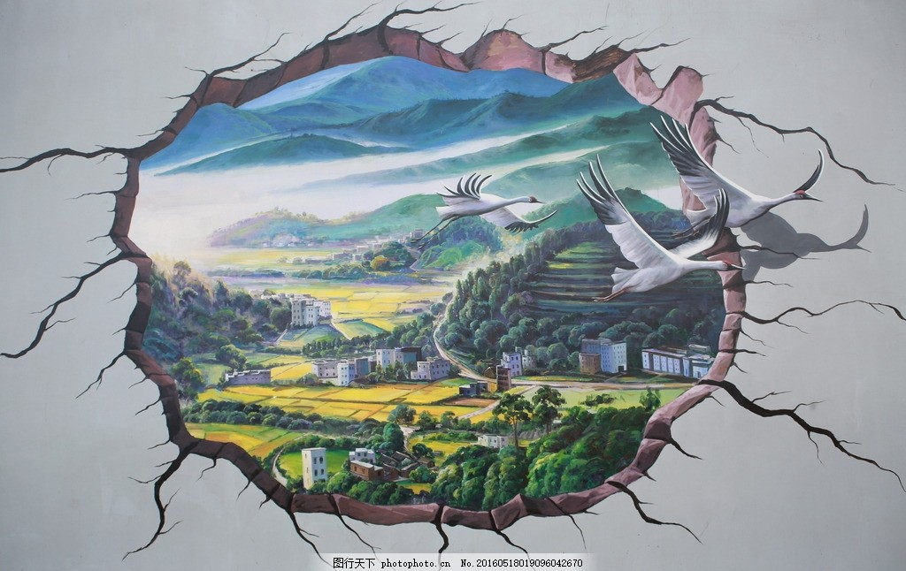 3d壁画 油画 墙画 立体画 摄影 美术绘画图片