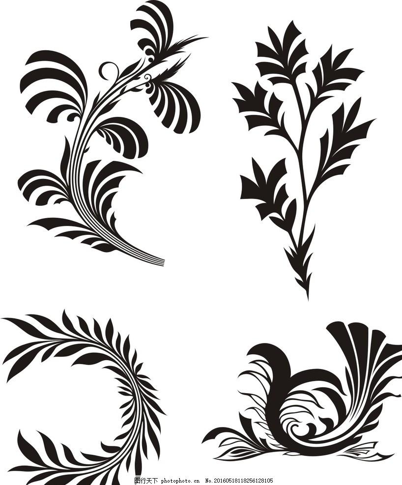 手绘素材 抽象 矢量素材 矢量简笔画 树叶 叶子 简笔画 线条 线描 简