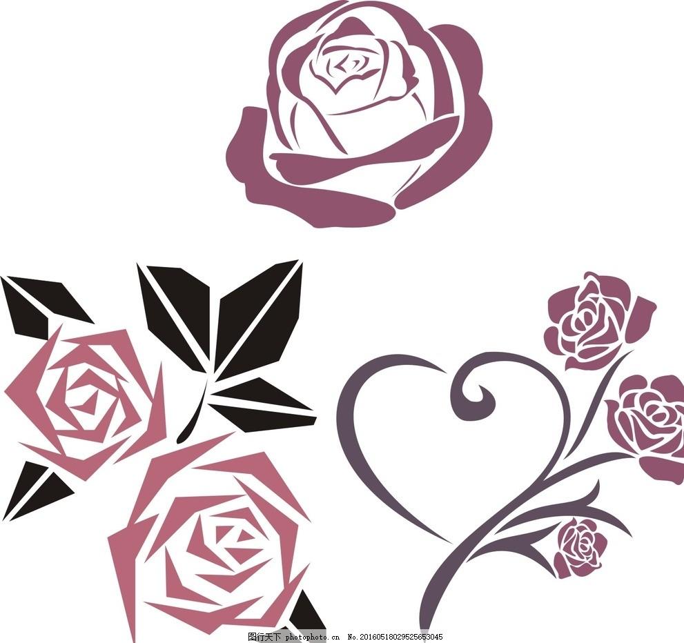 抽象玫瑰花 黑白玫瑰花 玫瑰花 线条 玫瑰花卉 手绘玫瑰 复古花卉