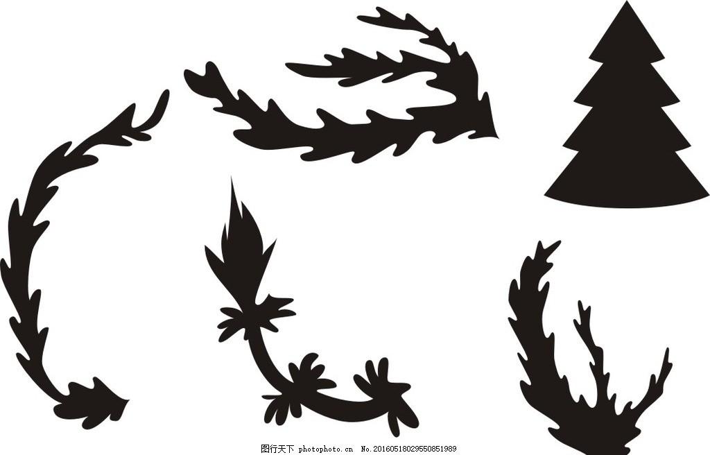简笔画 线条 线描 简画 黑白画 卡通 手绘 矢量 动感 手绘树叶 黑白