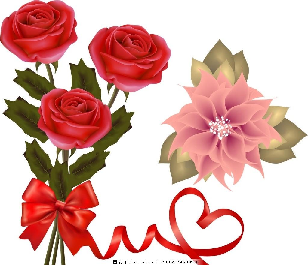 一支红玫瑰 花束 一束玫瑰花 玫瑰 矢量植物 矢量花卉 矢量玫瑰花