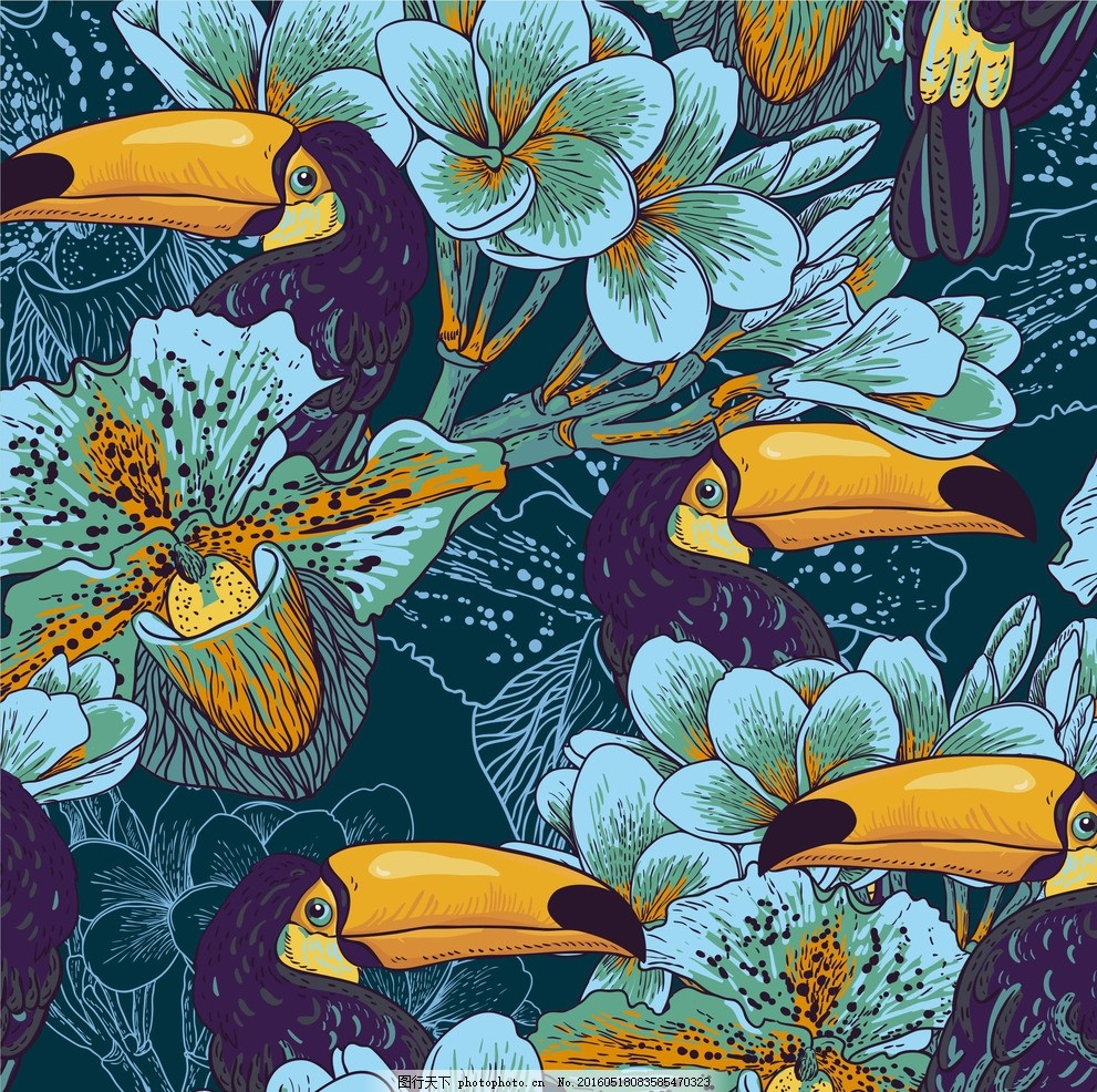 兰花鸟插画 四方 连续 图案 自然 植物 动物 装饰 艺术 矢量