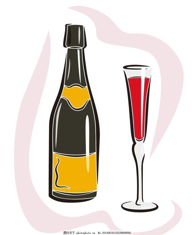 香槟 酒 饮料 简笔画 线条 线描 简画 黑白画 卡通 手绘 标志图标