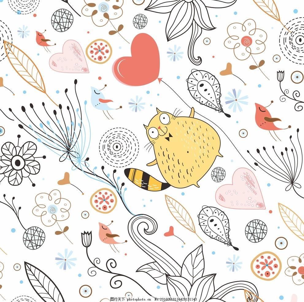 插画 淡雅 花纹 背景 小猫 线稿 手绘 矢量素材 可爱 底纹边框