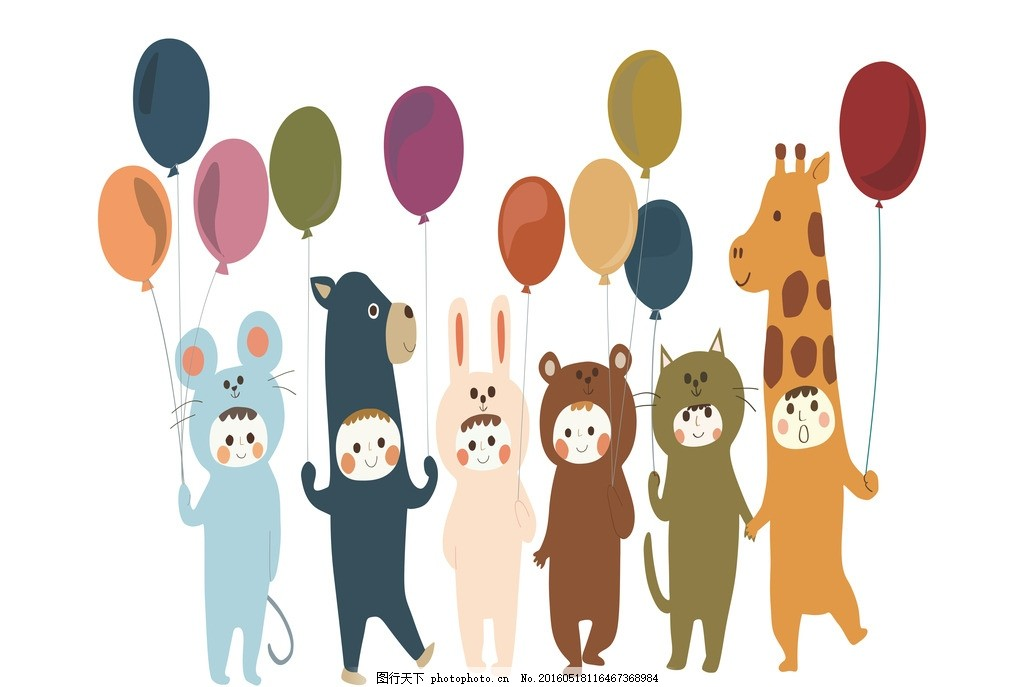 儿童插画 简笔画 动物 气球 矢量素材 底纹边框 背景底纹