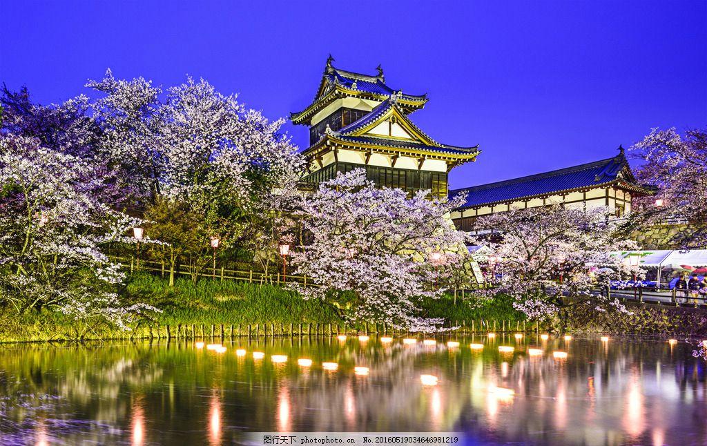 日本花园 郡山市 园林 樱花 池塘 宫殿 古建筑 城堡 旅游 公园