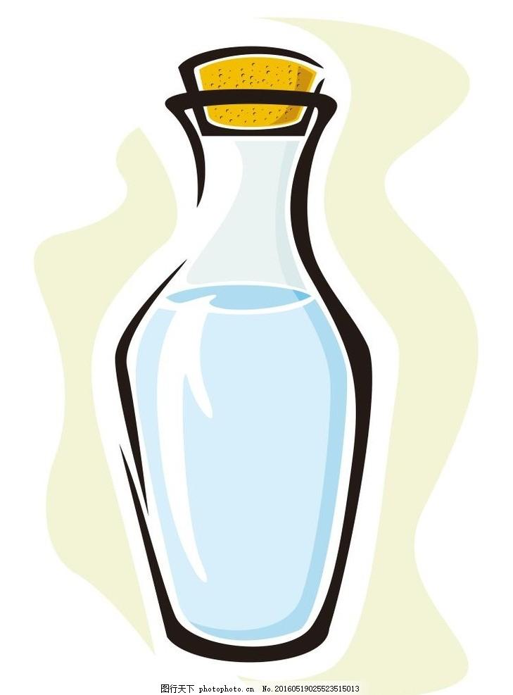 玻璃瓶 瓶子 花瓶 简笔画 线条 线描 简画 黑白画 卡通 手绘