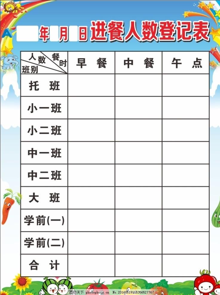 幼兒園進餐人數登記表